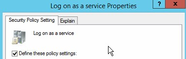 Log on as a service properties